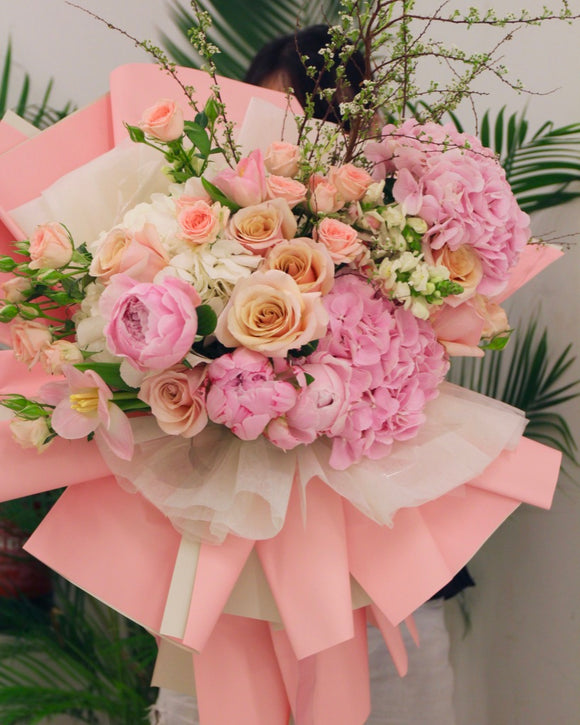 peony bouquet - hydrangea bouquet | Free SG Flower Delivery | V Florist SG