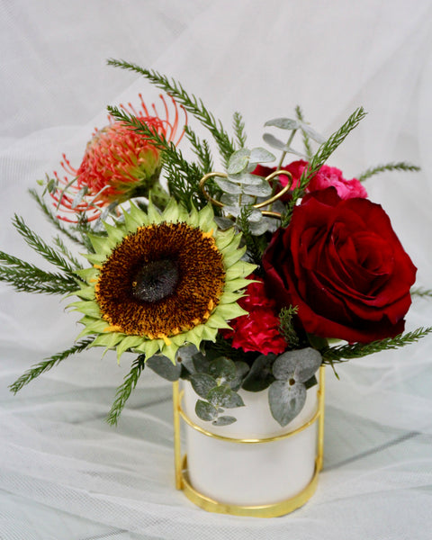 Vase Arrangement with Sunflower and Protea