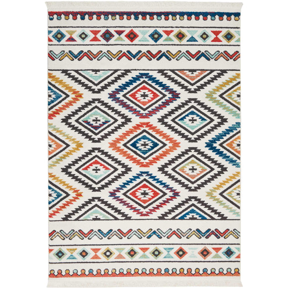 NAV06 White-Tribal-Area Rugs Weaver