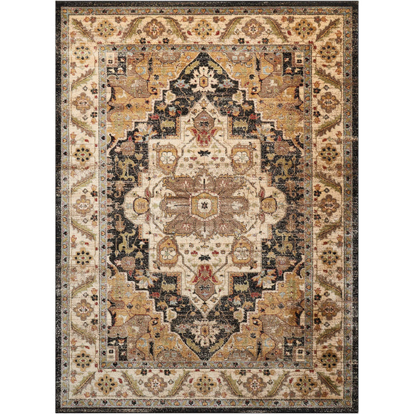 DEL05 Black-Vintage-Area Rugs Weaver