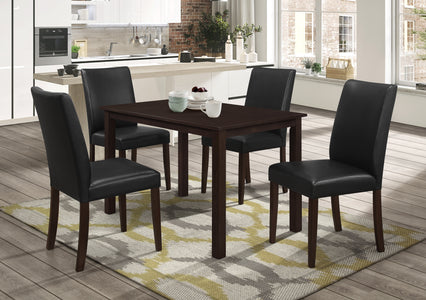 FURNITUREMATTRESSDIRECT-DINETTE SET WITH UPHOLSTERED BLACK CHAIR AND ESPRESSO TABLE H-KS141