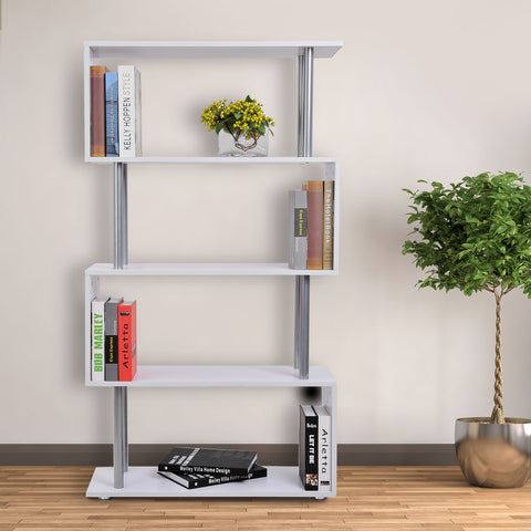 Image of 4-Tires Wooden Bookcase S Shape Storage Display Unit Home Organizer Room Divider