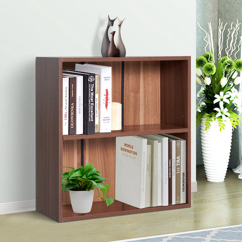 Image of Wood Small Bookshelf 2 Tier Storage Unit Chest Home Office Furniture Walnut