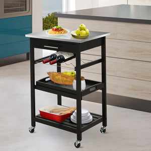Room Essentials Portable Stainless Steel Top Kitchen Cart with Storage Drawer 3-Tier