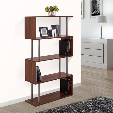 Image of Wooden Bookcase S Shape Storage Display Unit 4 Shelf Home Décor Walnut