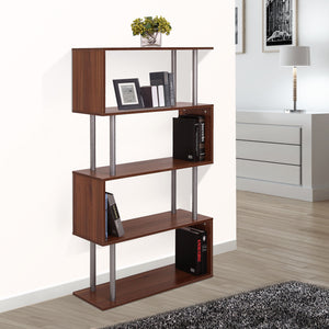 Wooden Bookcase S Shape Storage Display Unit 4 Shelf Home Décor Walnut