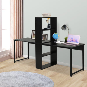 Computer Table Writing Table Home Office Workstation w/ Bookshelf Black