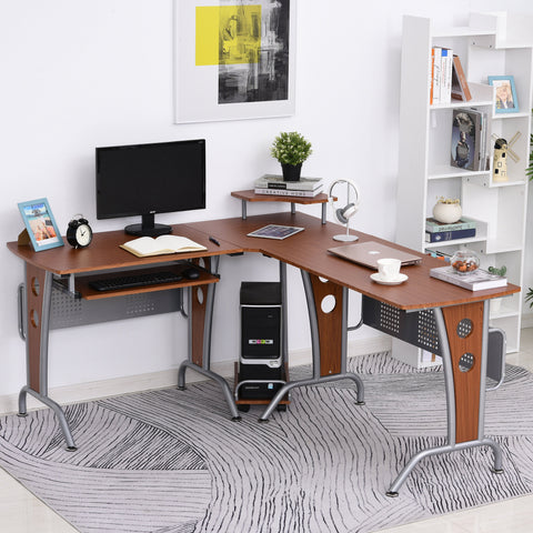 L-Shaped Corner Computer Office Desk PC Table Workstation with Keyboard Tray