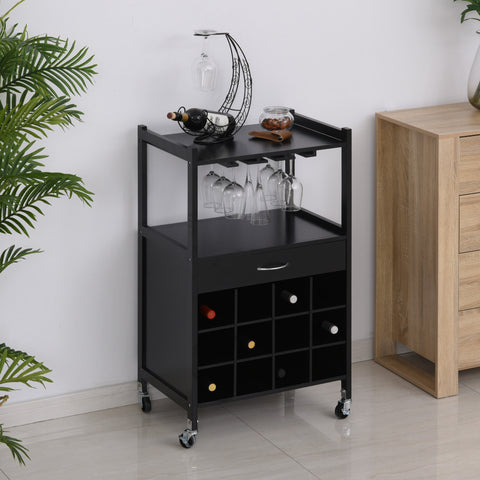 Image of Multi-tier Rolling Kitchen Trolley Serving Cart w/ Drawer Open Shelf Wine Rack