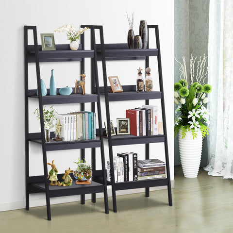 Image of Set of 2 4 Tier Ladder Shelf Bookcase Multi-Use Display Rack Storage Shelving Unit Display Stand Flower Plant Holder Black