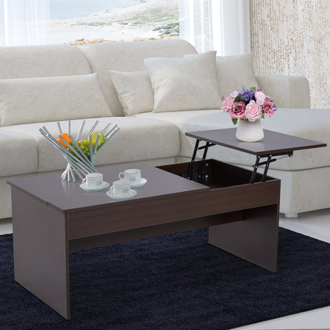 Modern Lift Top Coffee Table Hidden Compartment Living Room Dark Brown