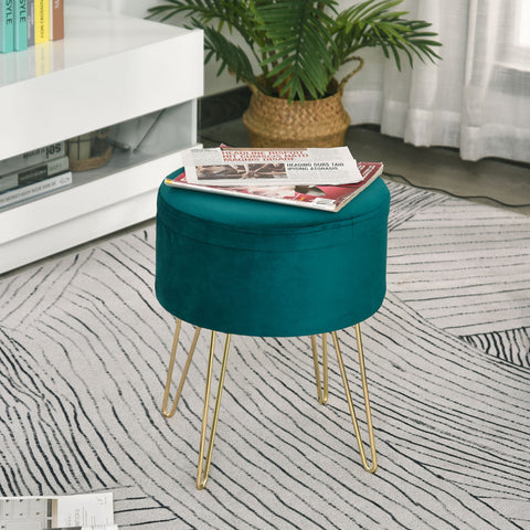 Round Linen Storage Ottoman Footstool Seat Chair Tray Top Table Green