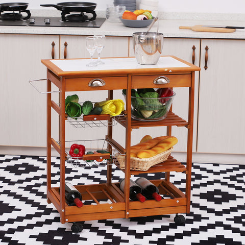 Image of Rolling Kitchen Trolley Cart 4 Tier Storage Wooden Table Rack 2 Drawers Baskets Countertop