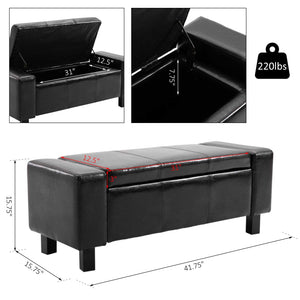 Deluxe Storage Ottoman Bench Chest Organizer Chair Black Furniture