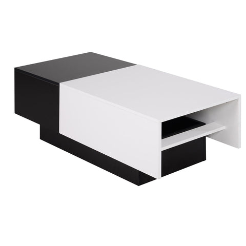 Modern Rectangular Wooden Coffee Table with Slide Top Trunk Storage, Black and White