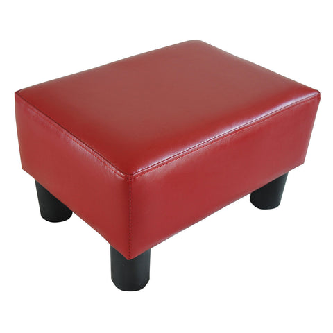 Modern Small Faux Leather Ottoman Footrest Sofa Stool Rectangle Red