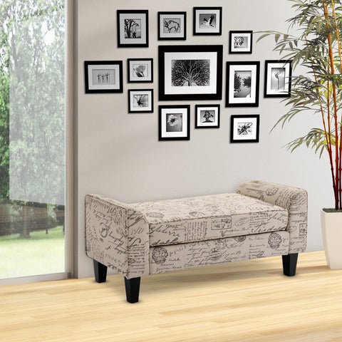 Armed Scripted Ottoman Bench Seat Cushions Home Furniture Upholstered