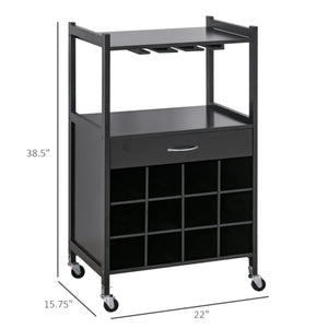 Multi-tier Rolling Kitchen Trolley Serving Cart w/ Drawer Open Shelf Wine Rack