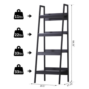 Set of 2 4 Tier Ladder Shelf Bookcase Multi-Use Display Rack Storage Shelving Unit Display Stand Flower Plant Holder Black