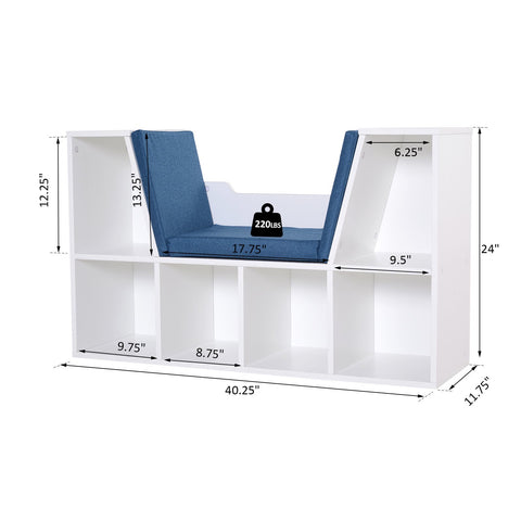 Image of 6-Cubby Kids Bookcase w/ Cushioned Seat Reading Nook Multi-Purpose Storage Organizer Cabinet Shelf Children Bedroom Decor White Blue
