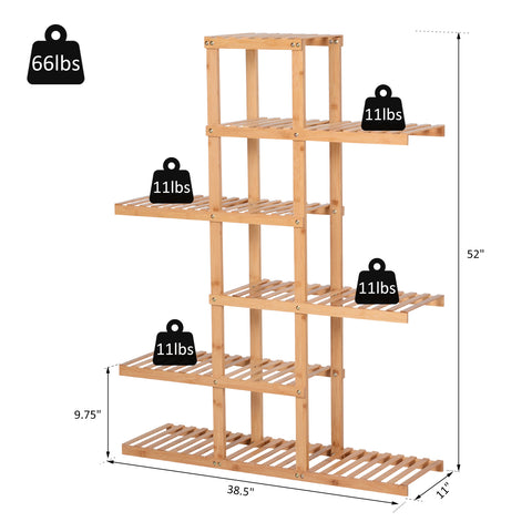 Image of 6-Tiers Slatted Bamboo Shelf Display Shelf Storage Rack Standing Shelf Natural Color Large Capacity