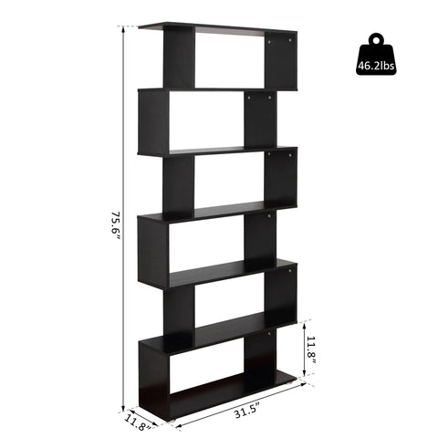 Image of Wooden S Shape Bookcase 6 Shelves Storage Display Home Office Furniture