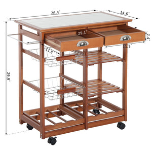 Rolling Kitchen Trolley Cart 4 Tier Storage Wooden Table Rack 2 Drawers Baskets Countertop