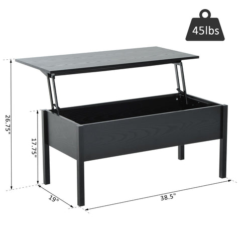Image of Modern Lift Top Coffee Table Convertible Tea Desk with Hidden Storage Compartment Black
