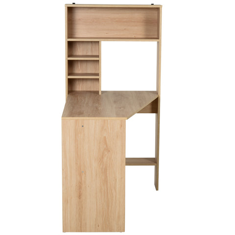 Modern Computer Office Desk Wood Corner Desk with Multi-Tier Storage Shelf