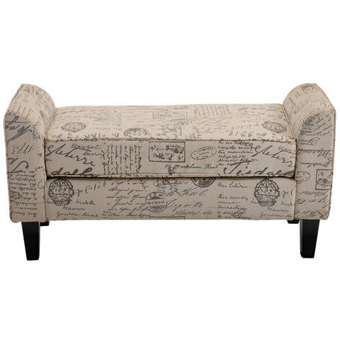 Image of Armed Scripted Ottoman Bench Seat Cushions Home Furniture Upholstered