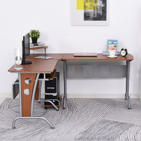 Image of L-Shaped Corner Computer Office Desk PC Table Workstation with Keyboard Tray