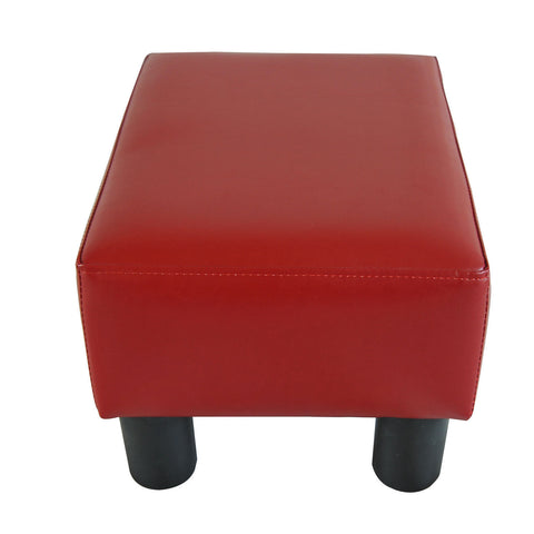 Image of Modern Small Faux Leather Ottoman Footrest Sofa Stool Rectangle Red