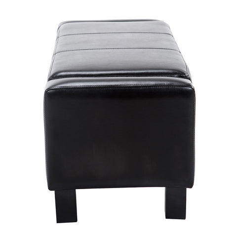 Image of Deluxe Storage Ottoman Bench Chest Organizer Chair Black Furniture