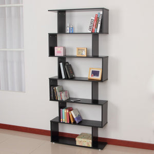 Wooden S Shape Bookcase 6 Shelves Storage Display Home Office Furniture