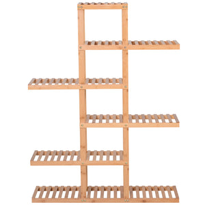 6-Tiers Slatted Bamboo Shelf Display Shelf Storage Rack Standing Shelf Natural Color Large Capacity