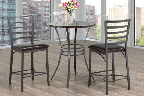 Image of FURNITUREMATTRESSDIRECT-Pub Set with Chairs - 3 pc - Black | Grey E-PS103