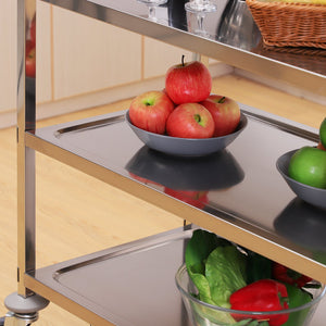 "33"" 3-Tier Stainless Steel Rolling Kitchen Island Cart"