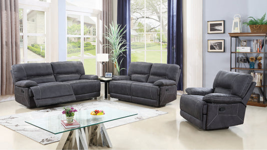 FURNITUREMATTRESSDIRECT-3-PIECE SOFA RECLINER SET- GREY HIGH-TECH FABRIC A-SS107