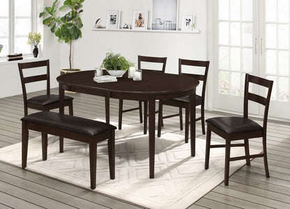 "DINETTE SET WITH ADJUSTABLE 16"" SELF STORING BUTTERFLY LEAF TABLE IN ESPRESSO WITH CUSHION SEATS H-KS131"