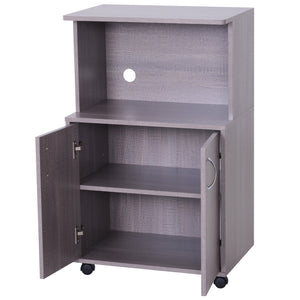 Microwaves Cart on Wheels with Storage Shelf and Cabinet Grey Wood Grain