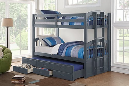 Twin Over Twin Trundle Bunk Bed in Grey
