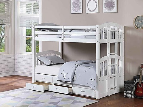Twin Over Twin Trundle Bunk Bed in White