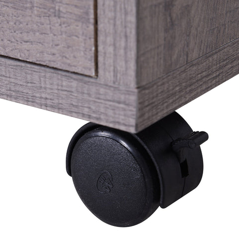 Image of Microwaves Cart on Wheels with Storage Shelf and Cabinet Grey Wood Grain