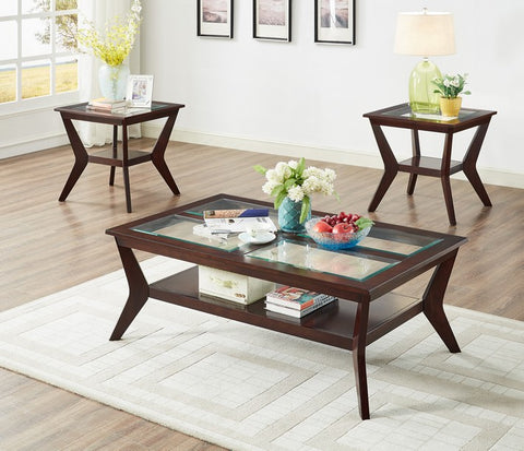 FURNITUREMATTRESSDIRECT-COFFEE TABLE SET-3 PC WITH TEMPERED GLASS A-CT100