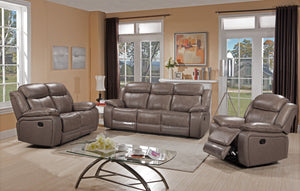 FURNITUREMATTRESSDIRECT-3-PC SOFA RECLINER SET IN LEATHER- STONE A-SS109