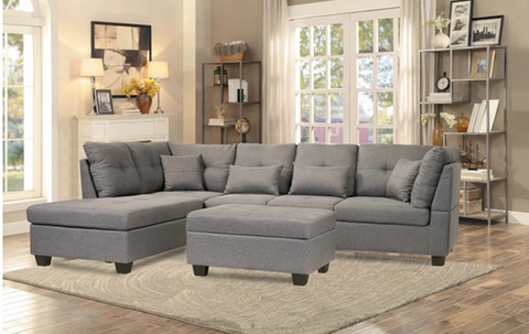 Sectional Set Fabric in Grey