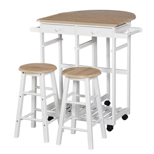 3 Pieces Foldable Kitchen Trolley Island Set with Casters 2 Barstool Chairs Folding Table Drop Leaf Storable Bottom Apartment Dorm