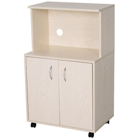 Image of Microwaves Cart on Wheels with Storage Shelf and Cabinet White Oak Grain Color