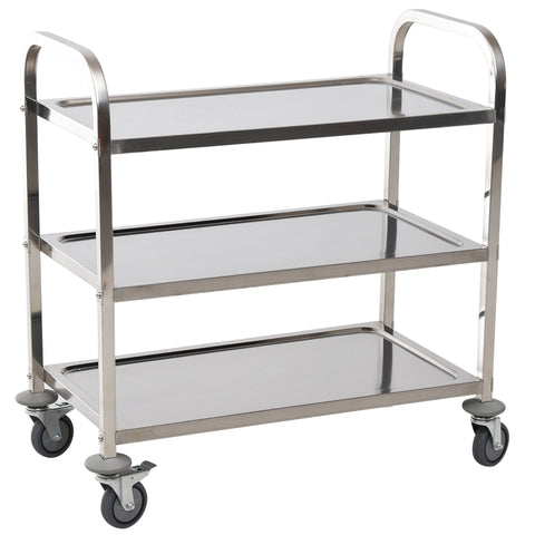 "Image of 33"" 3-Tier Stainless Steel Rolling Kitchen Island Cart"