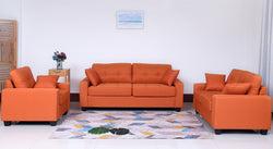 Sofa Set with Cushions-In Orange